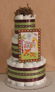 3 tier diaper cake fisher price welcome baby rain safari