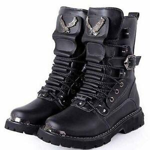 2016 Mens Lace Up Buckle Military Combat Motorcycle Riding Boots Desert Shoes SZ