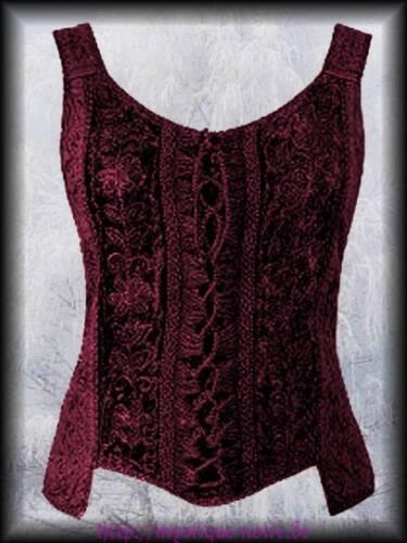 Gothic Mittelalter Mieder Schnür Top Shirt Wicca bordeaux Samt Nepal 36-42