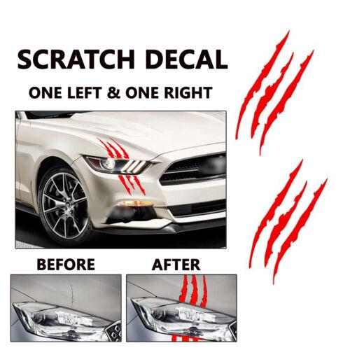 R One Pair 38cm Red Car Headlamp Vinyl Eye Catching Claw Marks Decal Sticker L