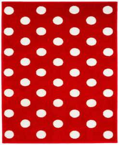 Red And White Spotty Rug 100 X 150 Cm