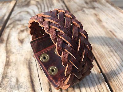 Men's Cool Punk Wide Genuine Leather Cuff Wristband Bangle Bracelet (US Seller)