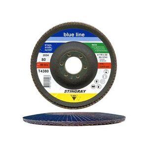 10-Stueck-SIA-Blue-Line-INOX-Faecherscheiben-fuer-Winkelschleifer-125mm-K80