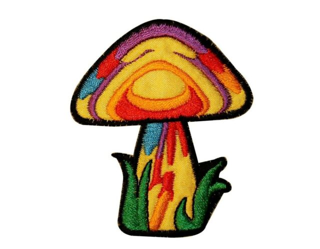 Psychedelic Mushroom Hippie Iron On Applique Patch