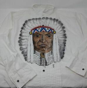 Vintage-Native-American-Chief-Indian-Aboriginal-L-S-White-Shirt-Joca-Sz-L