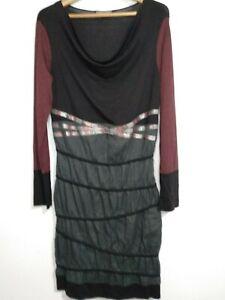 Franzoesische-Designer-Mia-SOANA-Kleid-schwarz-burgund-Gr-40-UK-12-franzoesische-Verband