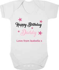 HAPPY BIRTHDAY DADDY Baby Bodysuit Grow Vest Romper Birthday Gift I Love Daddy