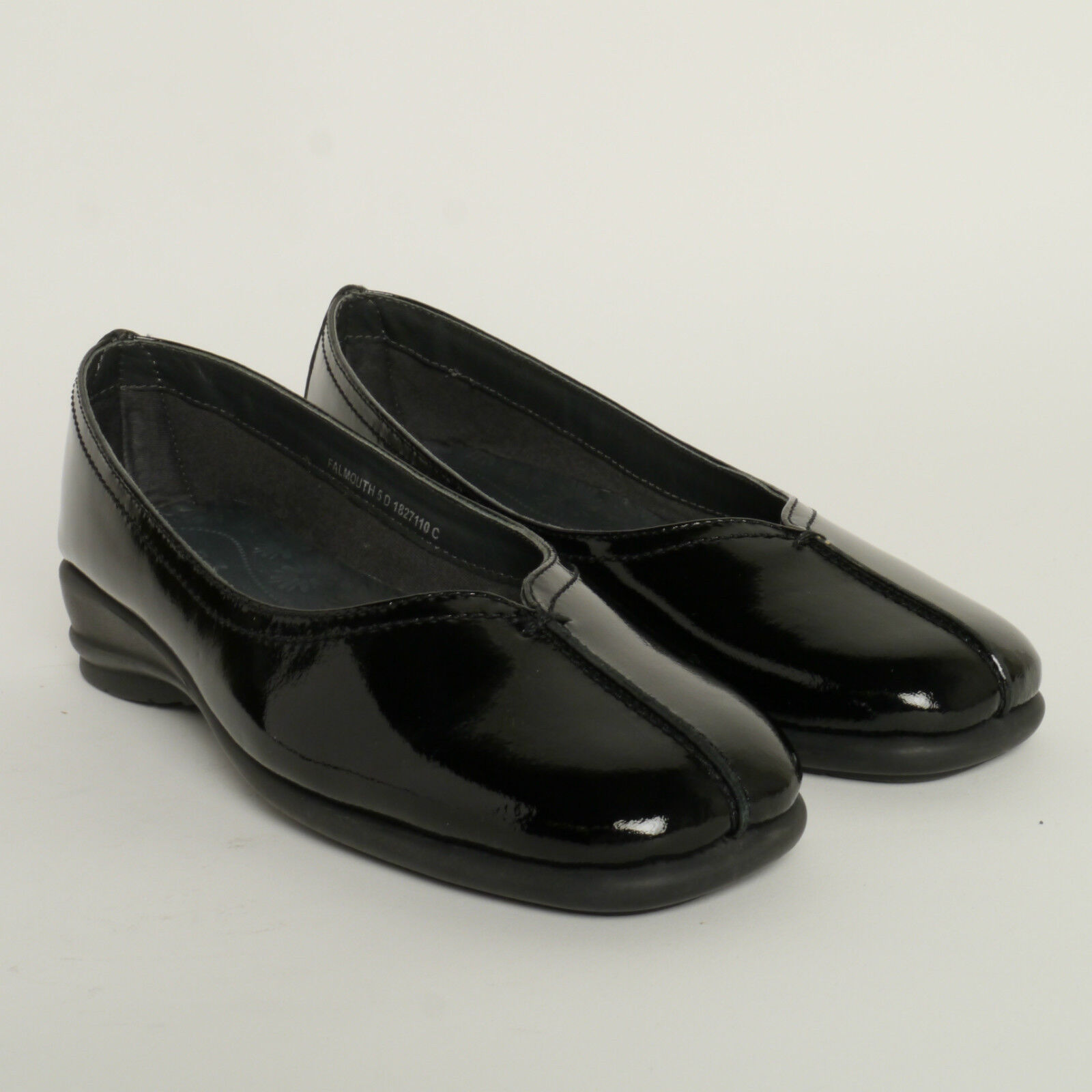 Ladies Van Dal  Falmouth Slip On Shoes In Black Patent Leather Falmouth New £40