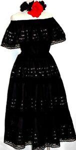 5 de Mayo Mexican Black Maxi Dress Off shoulder Catrina Day of the Dead Ruffle