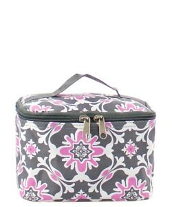 8f6141638251 Details about Cosmetic Case/Make Up/Toiletry Bag Travel Canvas NEW NGIL  FREE SHIP! Grey Vine P