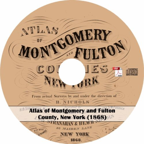 Plat Maps Book on CD New York 1868 Atlas of Montgomery and Fulton County