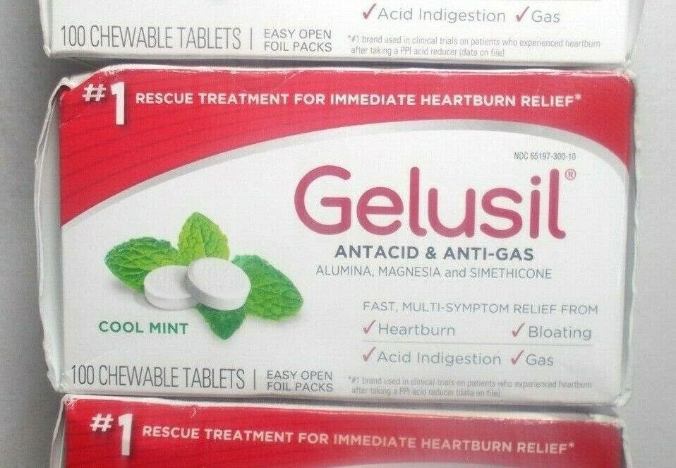 Gelusil Antacid Tablets for Heartburn Relief Acid Reflux and Anti-Gas 100 ct 1