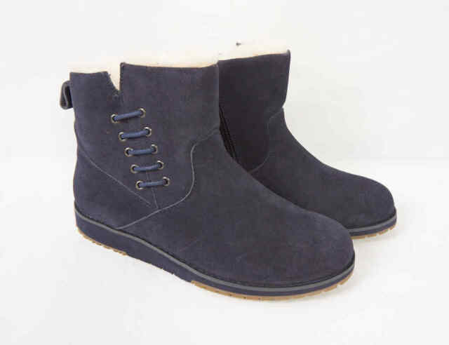 EMU Australia Koora Blue Suede Leather Shearling Winter Snow Ankle Boots Women 7