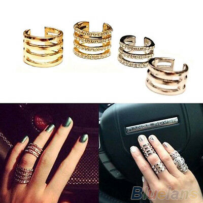 Woman Fashion Mutilayer Rhinestone Knuckle Band Mid Finger Tip Ring Jewelry