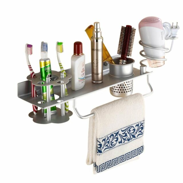 Bathroom Hair Dryer Holder Comb Organizer Shelf Rack Stand Wall Mounted Cup