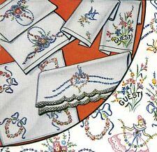 Vintage Embroidery 129 Flowers Heart Crinoline Lady for Pillow Cases Guest Towel