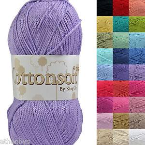 King-Cole-Cottonsoft-DK-100-Cotton-Knitting-amp-Crochet-Yarn