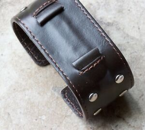 Wide-top-studded-leather-cuff-type-watch-band-for-18mm-lugs-steel-insert-inside