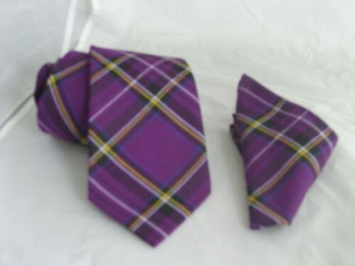 """C TARTAN Purple-Mens Tie Classic 3.5/""""=9cm OR Skinny 2/""""=5cm OR Hanky Only OR Set"""
