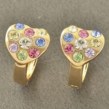 WOMENS Multi Colour CRYSTAL 9K Solid Gold Filled Heart Hoop Earrings Huggie
