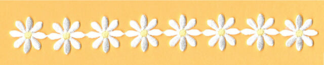 Daisy - Flower Strip - White W/Yellow Center - Embroidered Iron On Patch