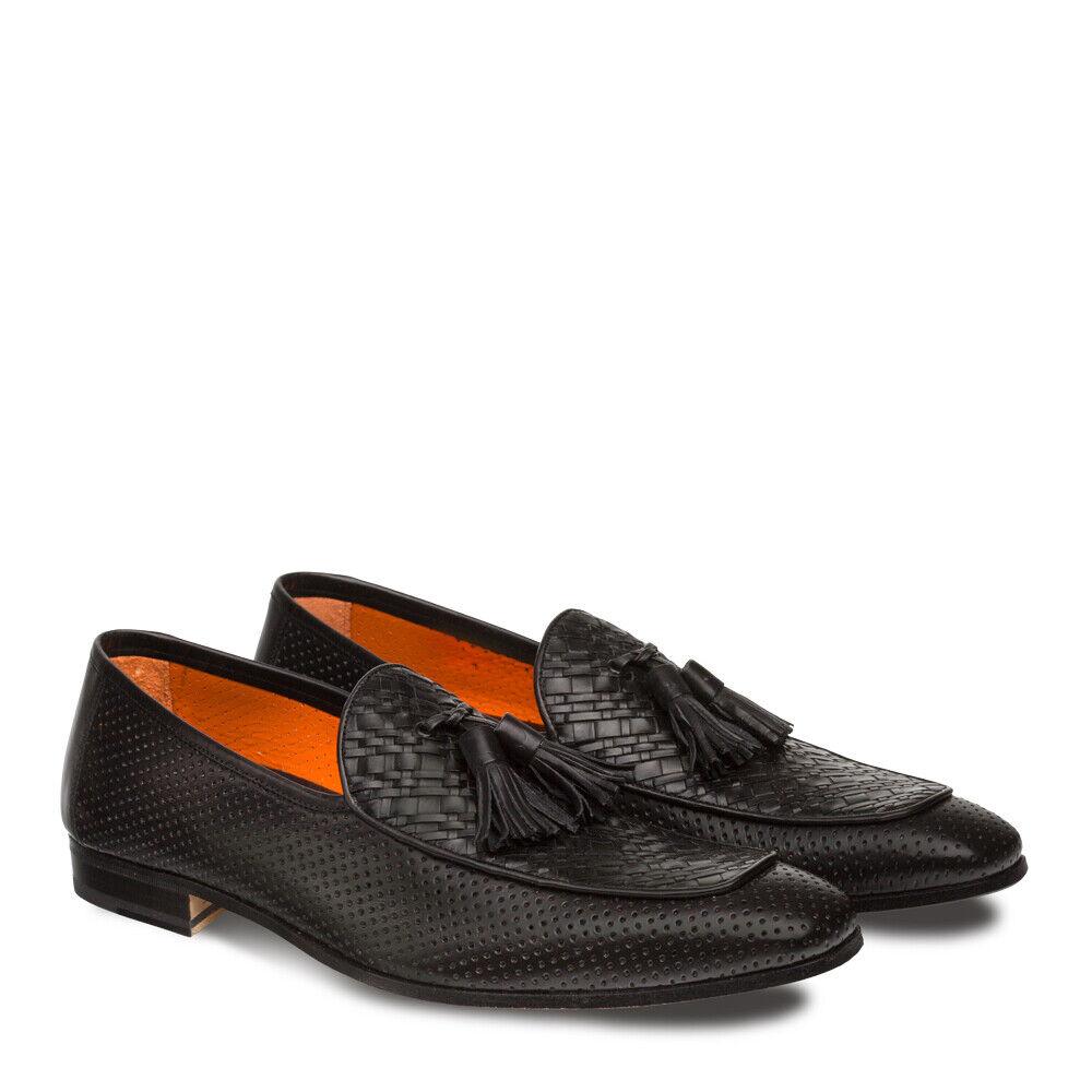 NEW Mezlan Mens Dress scarpe Loafers Perforated Tassle Woven Leather Rubini nero