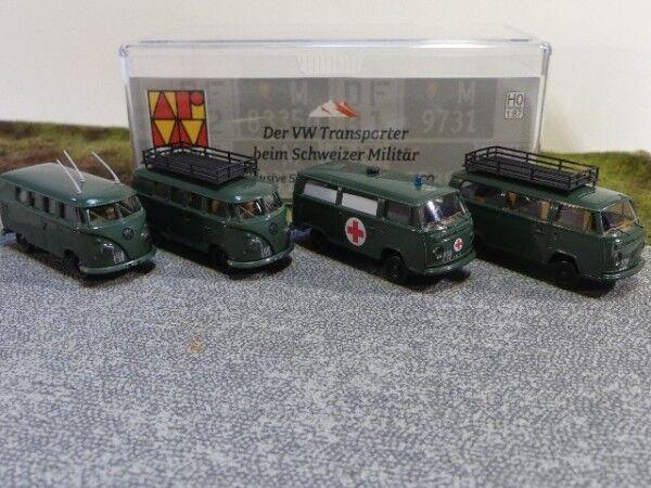 1 87 Brekina Brekina Brekina Set VW T1 2x + VW T2 2x Militär Schweiz CH c6ee43