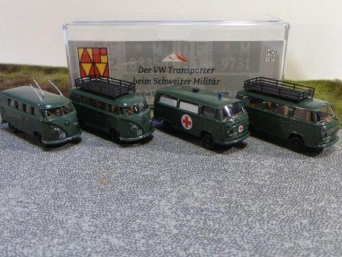 1//87 Brekina # 1912-1913 Set VW t1 2x VW t2 2x militare Svizzera CH