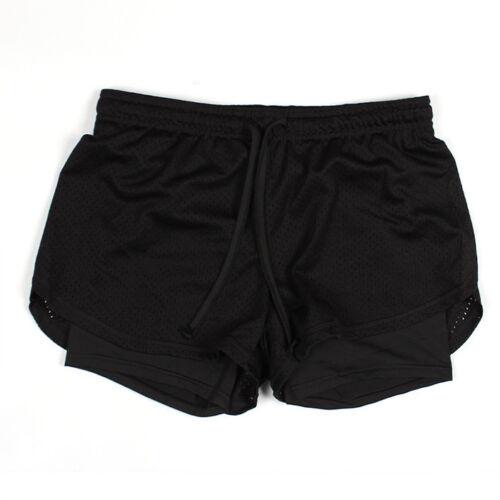 Double Layer Women Sports Shorts Yoga  Gym Workout Waistband Skinny Pants Short