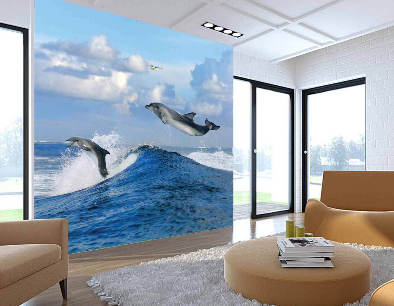 3D Jumping Dolphins 75 Wall Paper Murals Wall Print Wall Wallpaper Mural AU Kyra