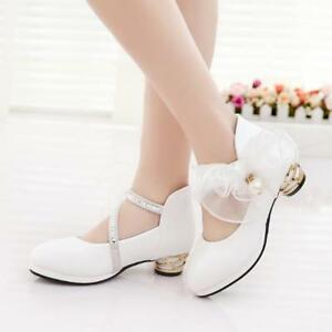 Image Is Loading Kids Diamante Ankle Strap High Heels Princess Shoes