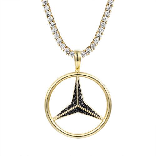 Luxury Car Logo Pendant 14k Gold Finish Black Simulated Diamonds Box Necklace