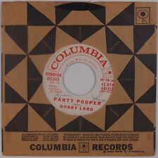 BOBBY LORD: Party Pooper USA Columbia ROCKABILLY 45 Very Rare HEAR