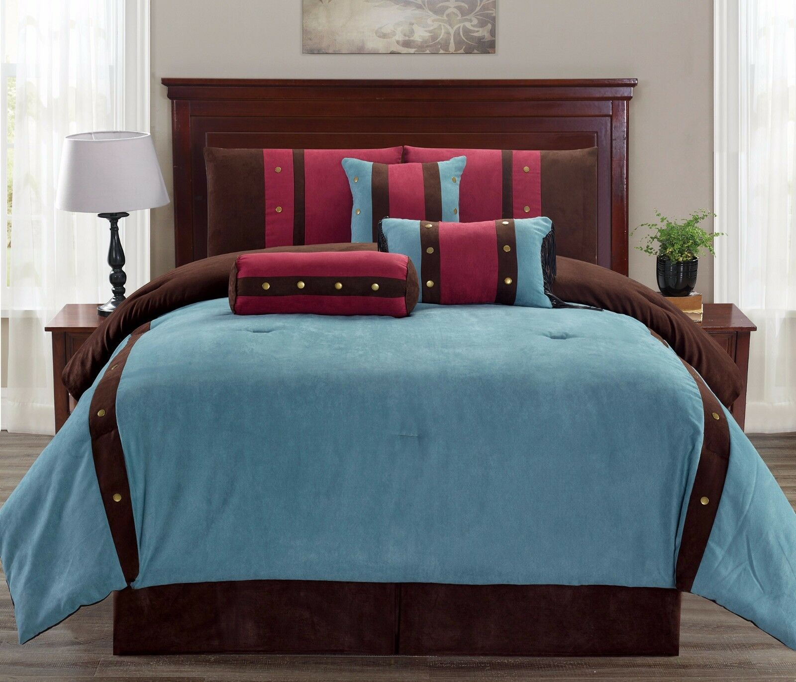 7pc Micro Suede Teal, braun & Burgundy Striped Comforter Set with Button Accents