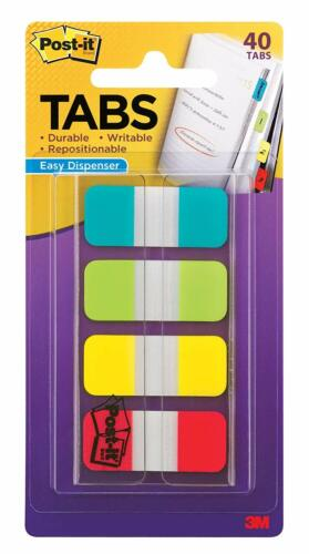 Solid Aqua Red Lime Post-it Tabs.625 in Writable Yellow Durable