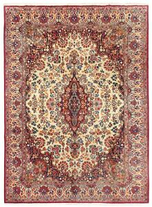 "Hand Knotted Wool Ivory Traditional Oriental Rug Carpet 10'2"" x 13'5"""