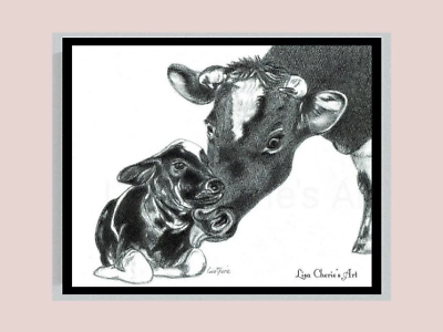 Mother Baby Cow Pencil Drawing Shower Nursery Decor