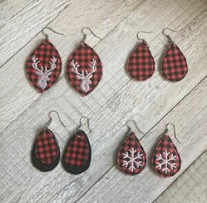 Red-and-Black-Buffalo-Check-Plaid-Faux-Leather-Earrings