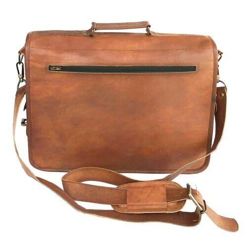 """18/"""" Men/'s Vintage Real Leather Messenger Satchel Office Briefcase Laptop Bag"""