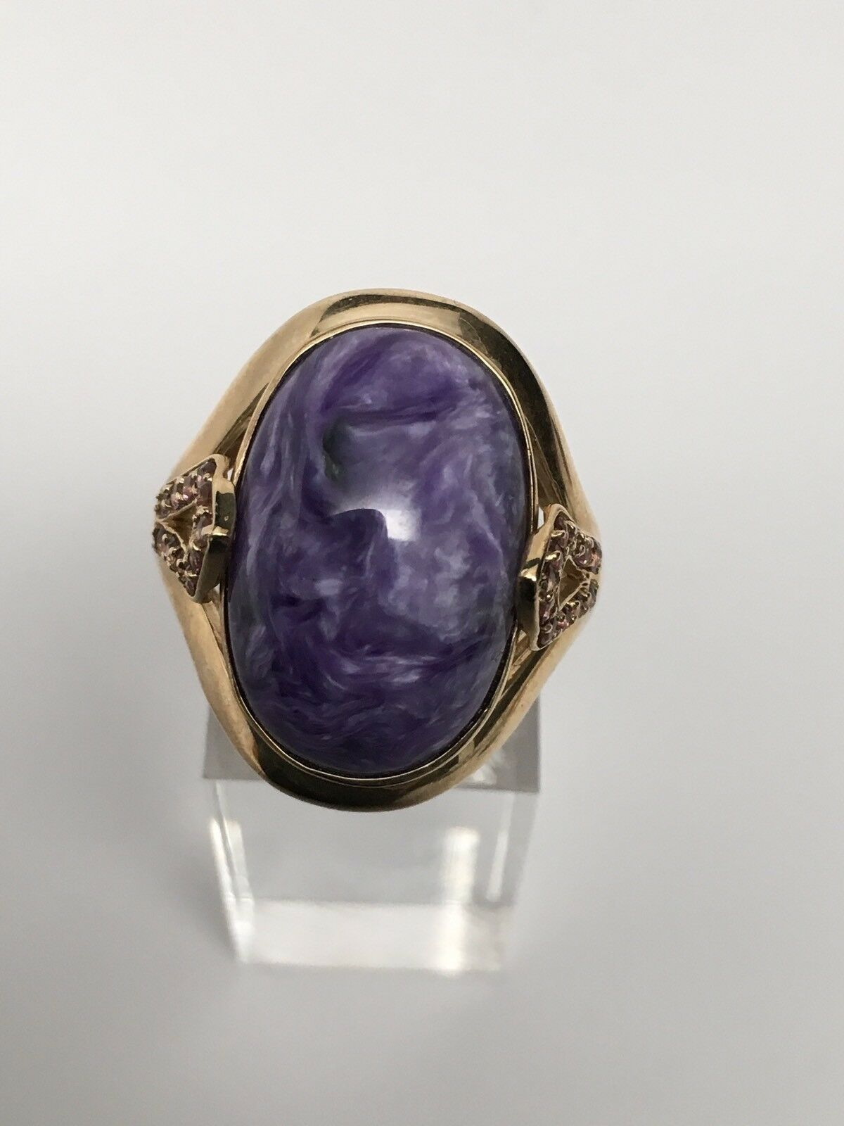 10K Yellow gold Large Oval Shape Bezel Set Purple Charoite Ring Size 9.25