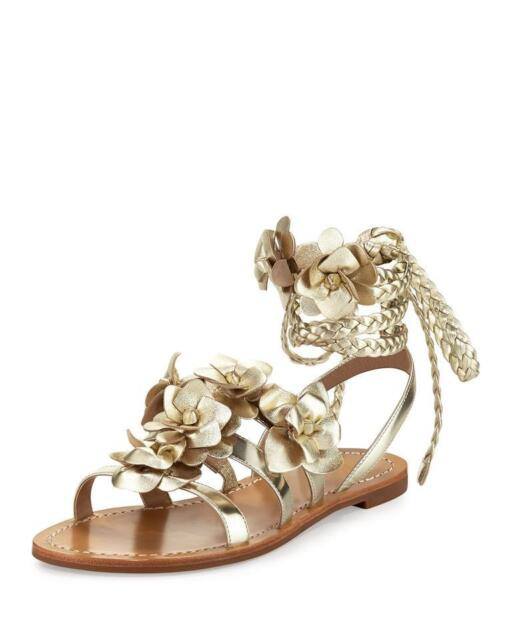 55f9ad876f527 New Tory Burch Blossom Spark Gold Metallic Leather Gladiator Sandals Size  US 10
