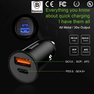 Mini-Dual-USB-Type-C-PD-3-0-QC-4-0-Car-Charger-Adapter-for-Cell-Phone-Tablet-GPS