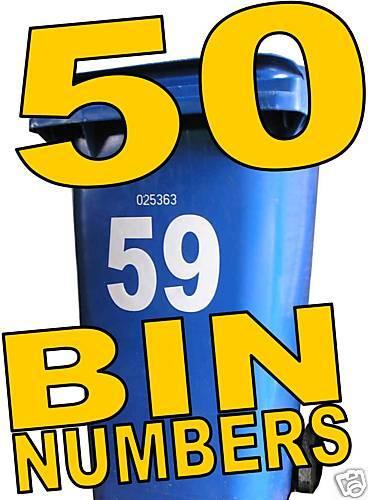 50 WHEELIE BIN NUMBERS make money from home buisness