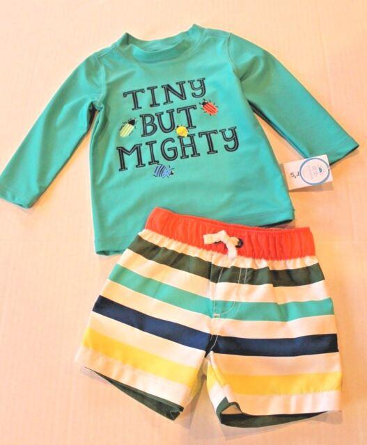9d730b6b9a45c Carter's Newborn NB Baby Boy Swimwear 2pc Swim Shorts & Top Set UPF ...