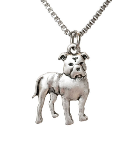 Standing Pit Bull With Natural Ears Necklace