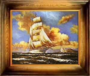 Painting-Oil-Picture-Frame-Ships-Schifftsfahrt-02600