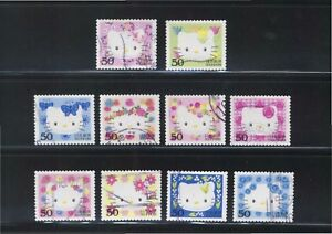 JAPAN-2004-HELLO-KITTY-GREETING-50-YEN-COMP-SET-10-STAMPS-FINE-USED-CONDITION