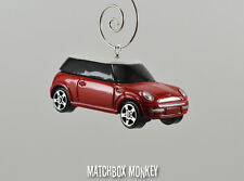 Custom Red Hard Top 2 Door Austin Mini Cooper Christmas Ornament 1/64 Car Elf