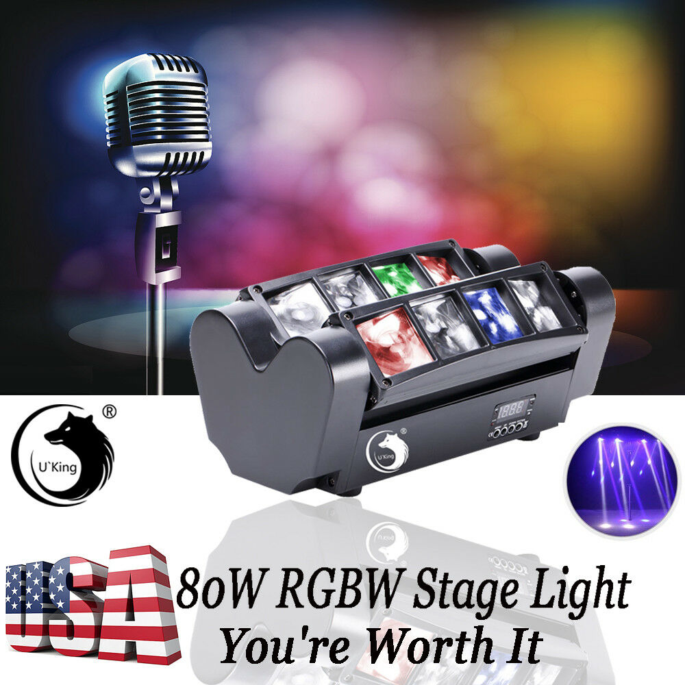 4PCS Spider Beam Moving Head Stage Lighting  RGBW LED DMX Disco Party Light
