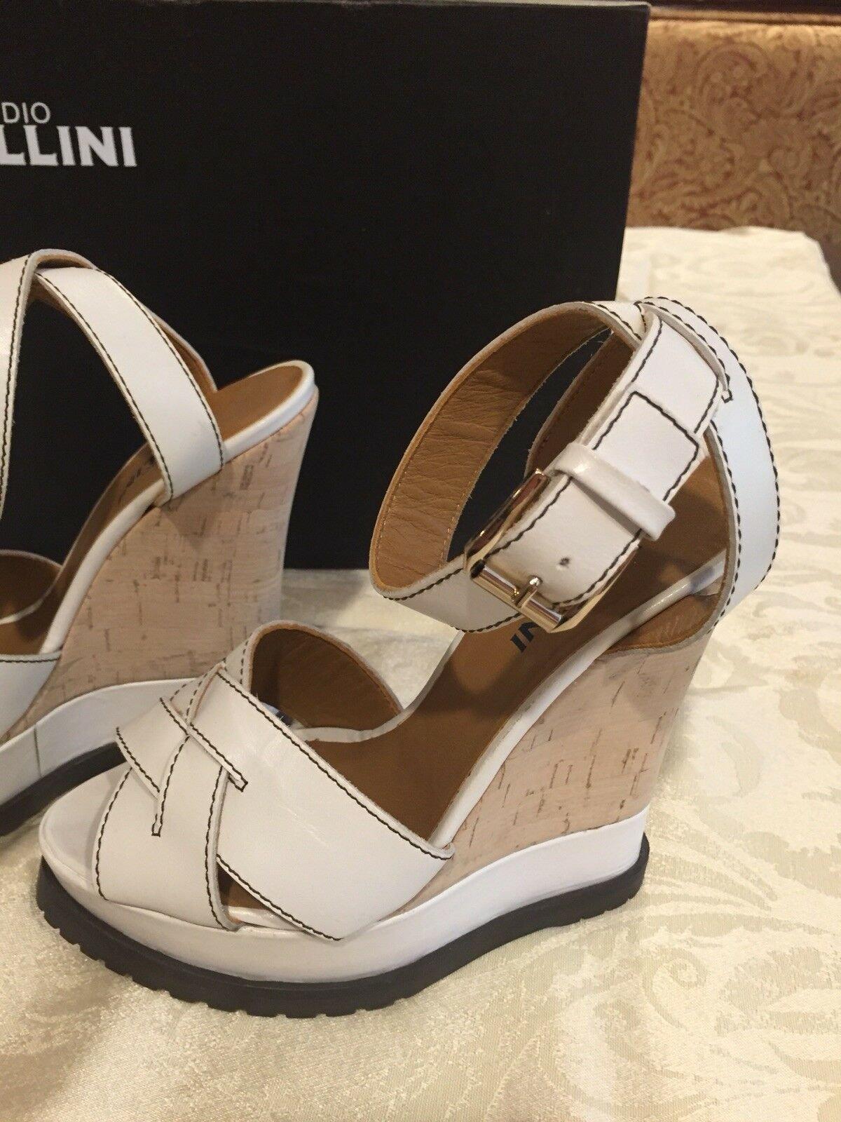 Studio Pollini bianca Italian Leather Platform Sandal, Size 7, Leather Italian 608142